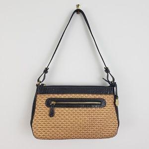 Brahmin Straw Croc Embossed Small Shoulder Bag